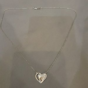 Jewelry - 14K white gold heart diamond necklace